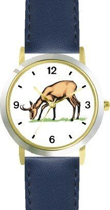 Pronghorn Antelope - Animal - WATCHBUDDY® DELUXE TWO-TONE THEME WATCH - Arabic Numbers - Blue Leather Strap-Size-Children's Size-Small ( Boy's Size & Girl's Size ) WatchBuddy. $49.95