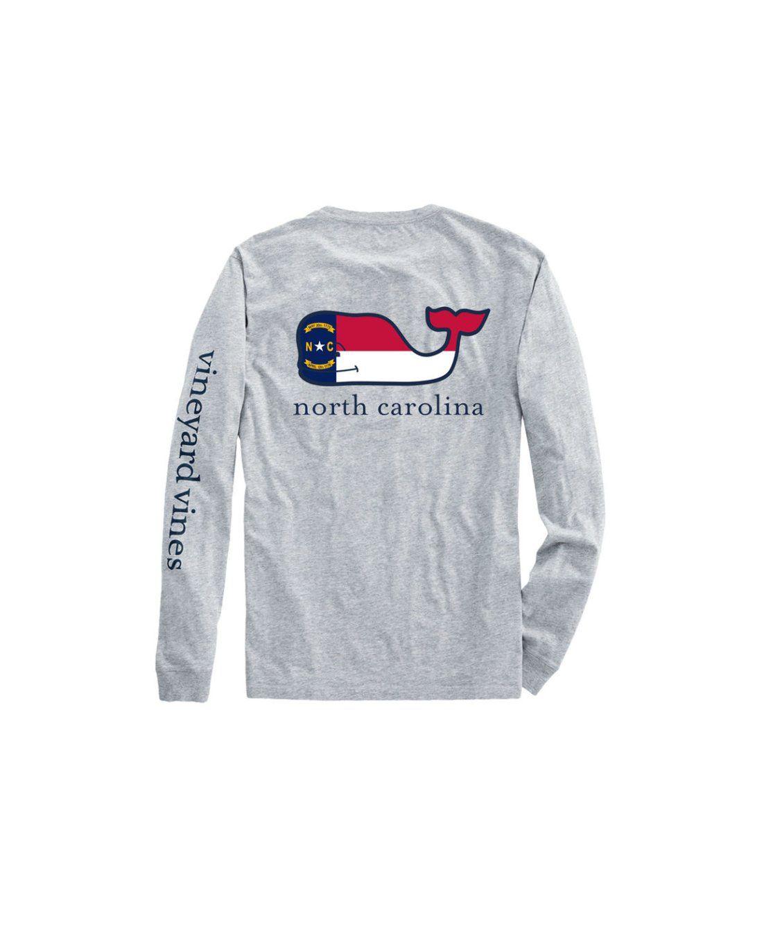 Adult Long Sleeve North Carolina Flag Whale Fill T Shirt North