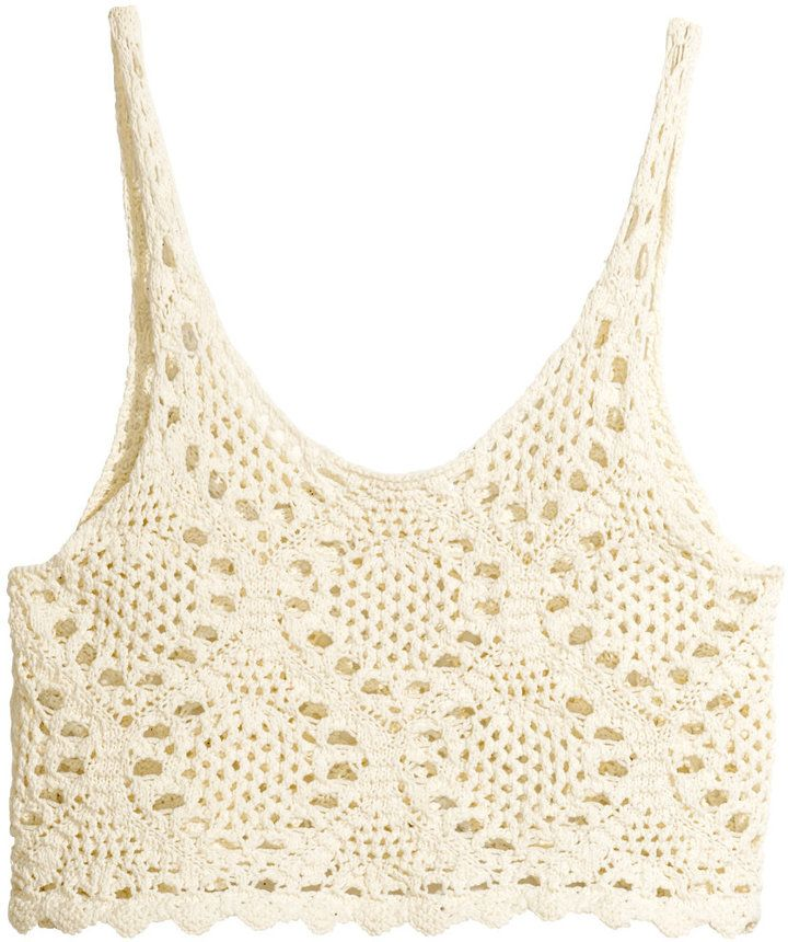 H&M Crocheted Top - Natural white - Ladies on shopstyle.com | style ...