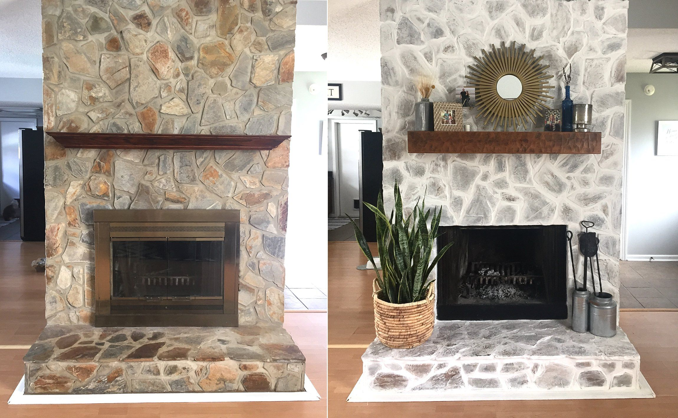 Our Fireplace Makeover Stone fireplace makeover, White