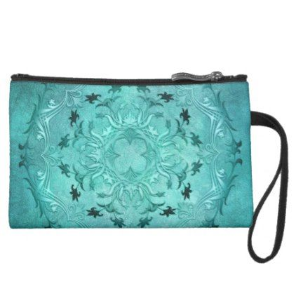 Ethnic floral turquoise grunge mandala suede wristlet - retro gifts style cyo diy special idea