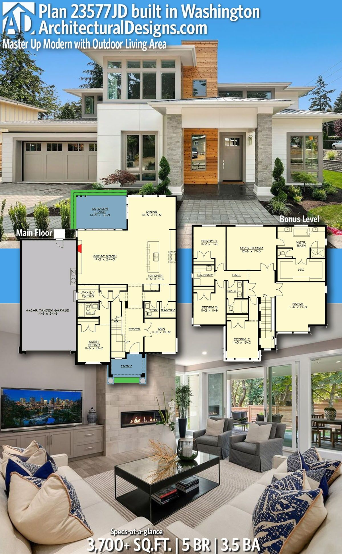 Plan 23577jd Master Up Modern With Outdoor Living Area In 2020 Architecture House Modern House Plans Sims House Plans