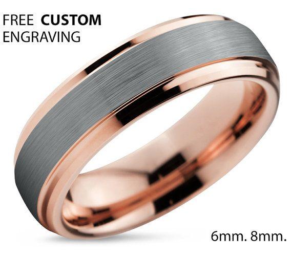 Tungsten Ring Rose Gold Brushed Silver Wedding Band Ring Tungsten