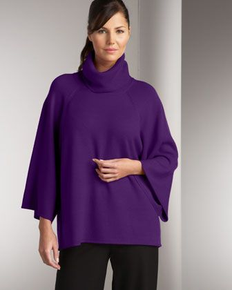 Comfy Cashmere! Turtleneck Poncho  by Eileen Fisher at Neiman Marcus.