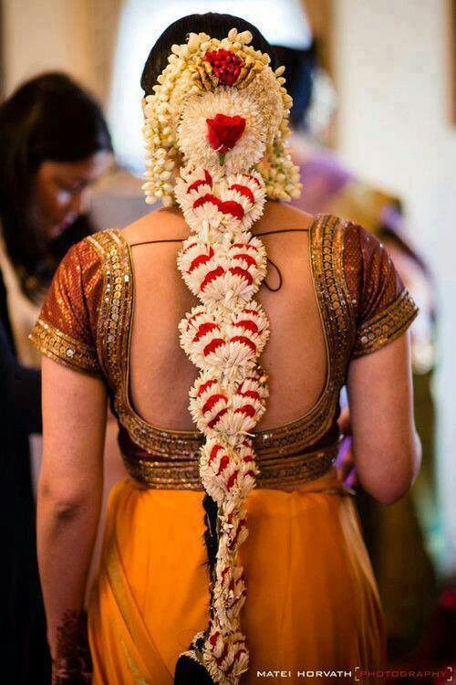 Flowers On A South Indian Bride S Hair Braid Is Shaped Like