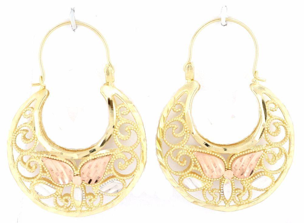 Real 10k Tri Color Gold Filigree Basket Hoop Earrings Height 36mm Width 26mm
