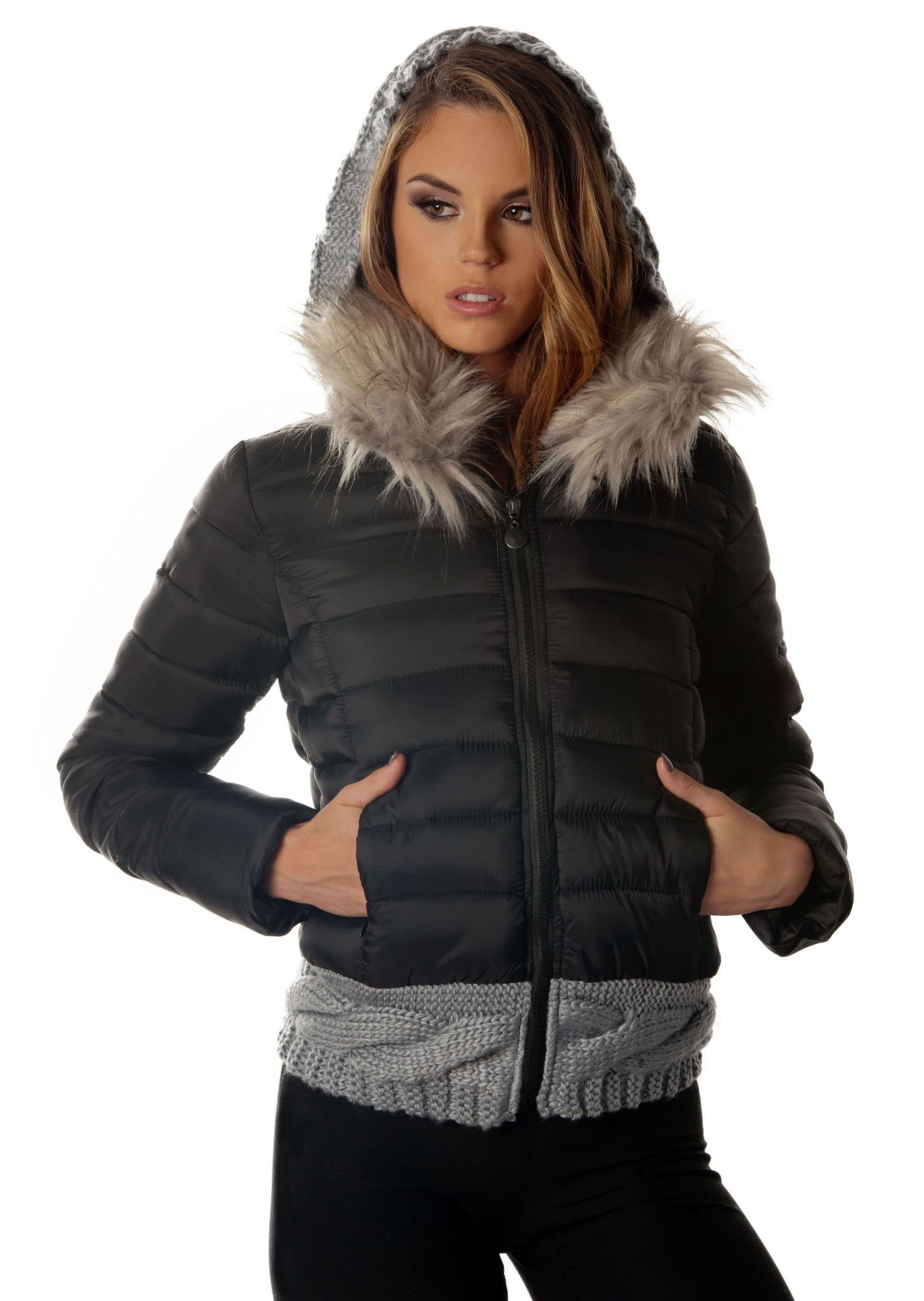Modern Hippie Women's Alternative Down Jacket | Faux fur collar ...