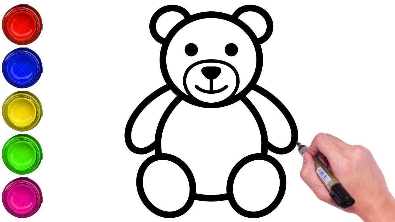 How To Draw A Teddy Bear Step By Step Easy Easy Drawing Of Drum Draw In 2020 Teddy Bear Drawing Easy Teddy Drawing Teddy Bear Drawing
