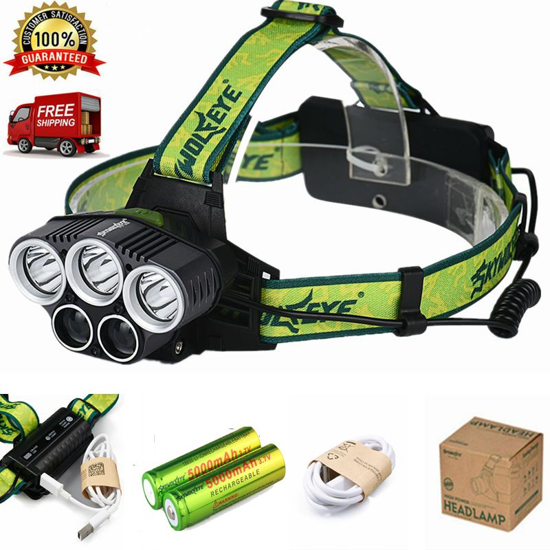 New 5x Xml T6 Headlamp 20000 Lumens 4 Mode Led Headlight Usb Power Rechargeable Hunting Head Light 18650 Battery Portable Light Led Headlights Headlamp