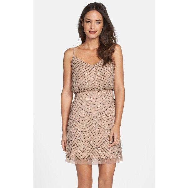 Women\'s Adrianna Papell Sequin Mesh Blouson Dress (270 CAD) ❤ liked ...