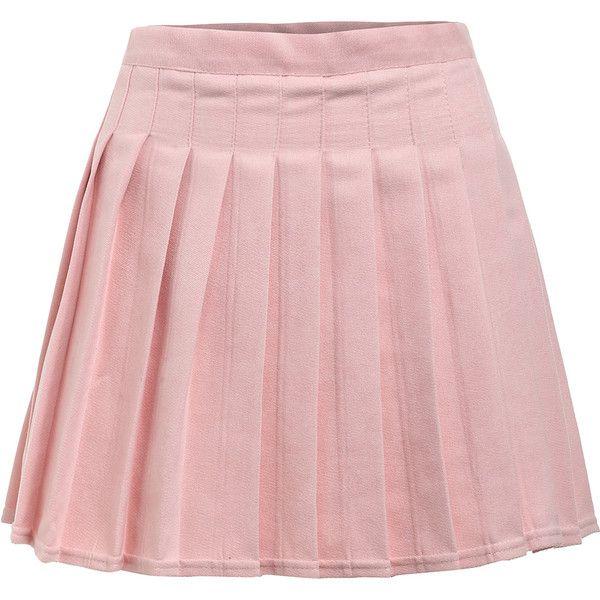 4fa64e3f7d SheIn(sheinside) Box Pleat Mini Skirt (296.030 VND) ❤ liked on Polyvore  featuring skirts, mini skirts, bottoms, pink, box pleat skirt, pleated skirt,  ...