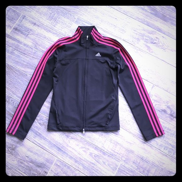 Adidas zip up jacket Adidas light weight zip up jacket. Tiny snag shown in last pic. Very cute in fuchsia and black. Size small, stretchy fabric. Adidas Jackets & Coats