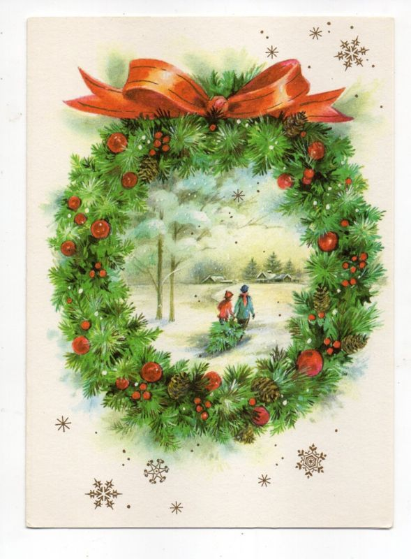 Vintage wreath postcards