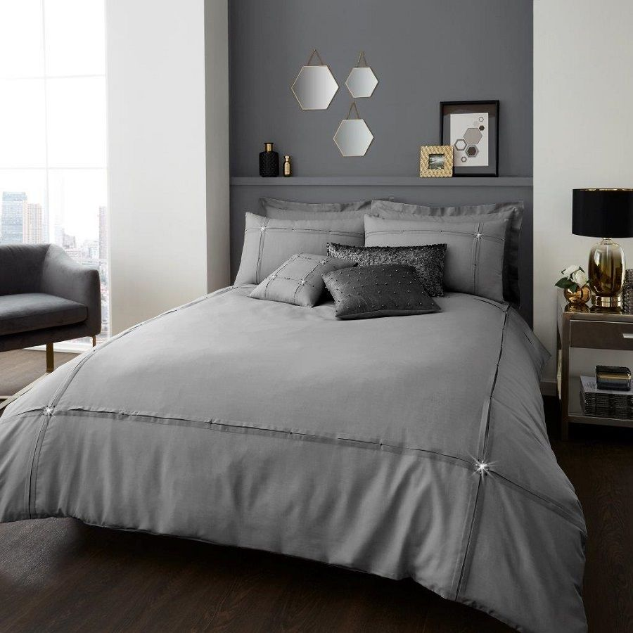 Signature Aura Grey Silver Duvet Quilt Cover Bedding Set Linen And Bedding Duvet Cover Sets Bed Linens Luxury White Duvet