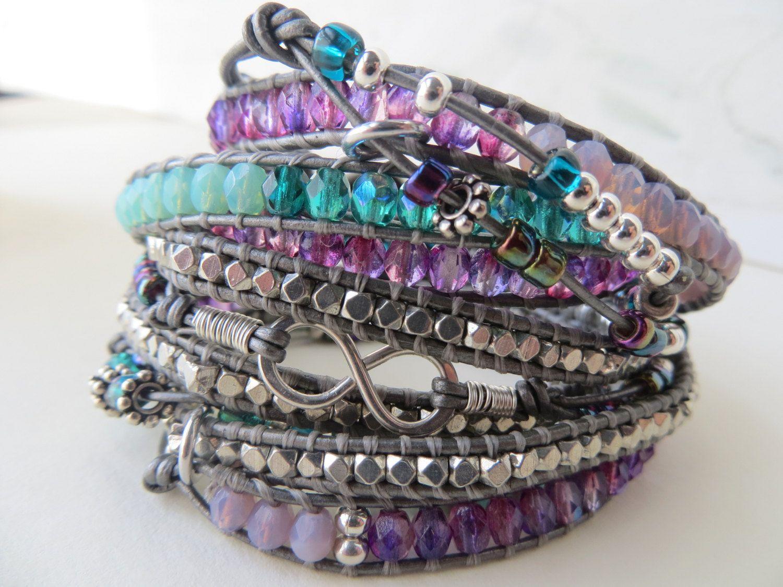 leather wrap beaded bracelet five wraps di OrnamentationbyMary, $85,95