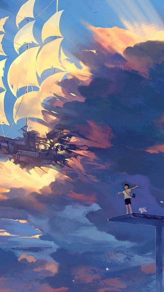 Hanyijie sky scenery ship anime art cool things in - Sketch anime wallpaper ...