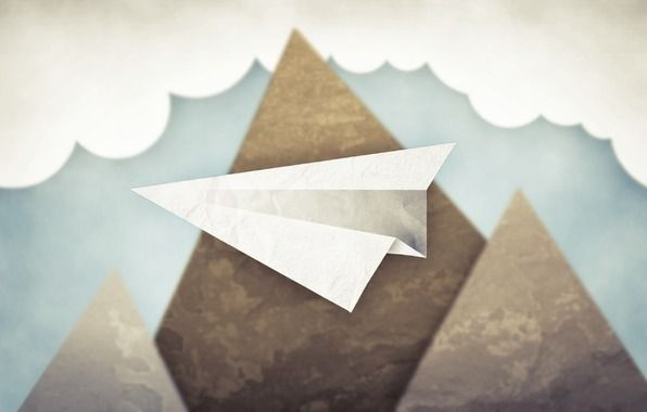 Wallpaper minimalism, sky, clouds, mountains, paper airplane