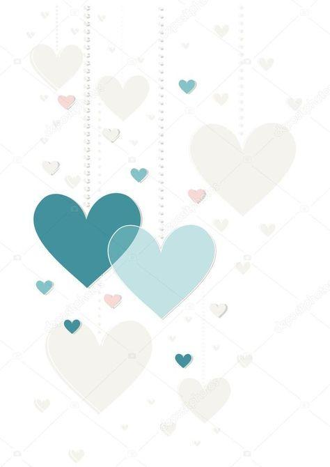 Bonito cinza azul rosa pendurado corações dia dos namorados romântico delicado colorido convite data do casamento cartão central isolado no fundo branco
