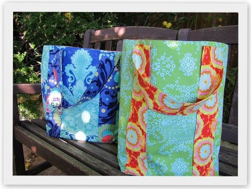 love the fabrics used in these totes