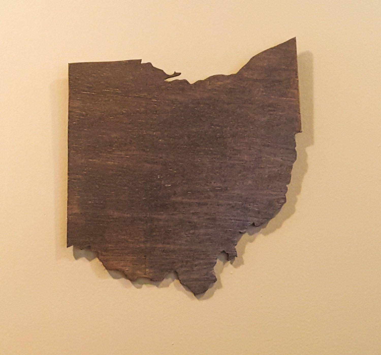 Ohio Wall Art ohio wall art, wooden ohio map, rustic ohio decor, ohio outline