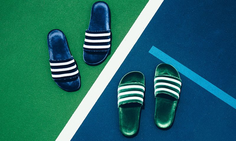 7c6d0867edf4 adidas Brings Primeknit Construction to the adilette. adidas Just Dropped  Some Luxury Velvet Slides ...
