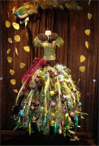 Christmas Peacock Themed Dress Form Tree Christmas