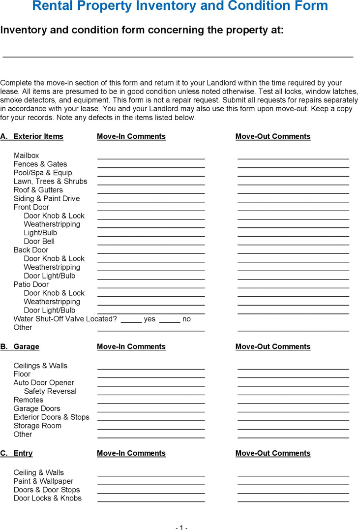 Free Rental Property Inventory And Condition Form Pdf 6 Page S Rental Property Being A Landlord Rental