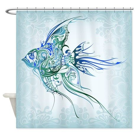 Pretty Blue Tropical Fish Shower Curtain Cool Shower Curtains