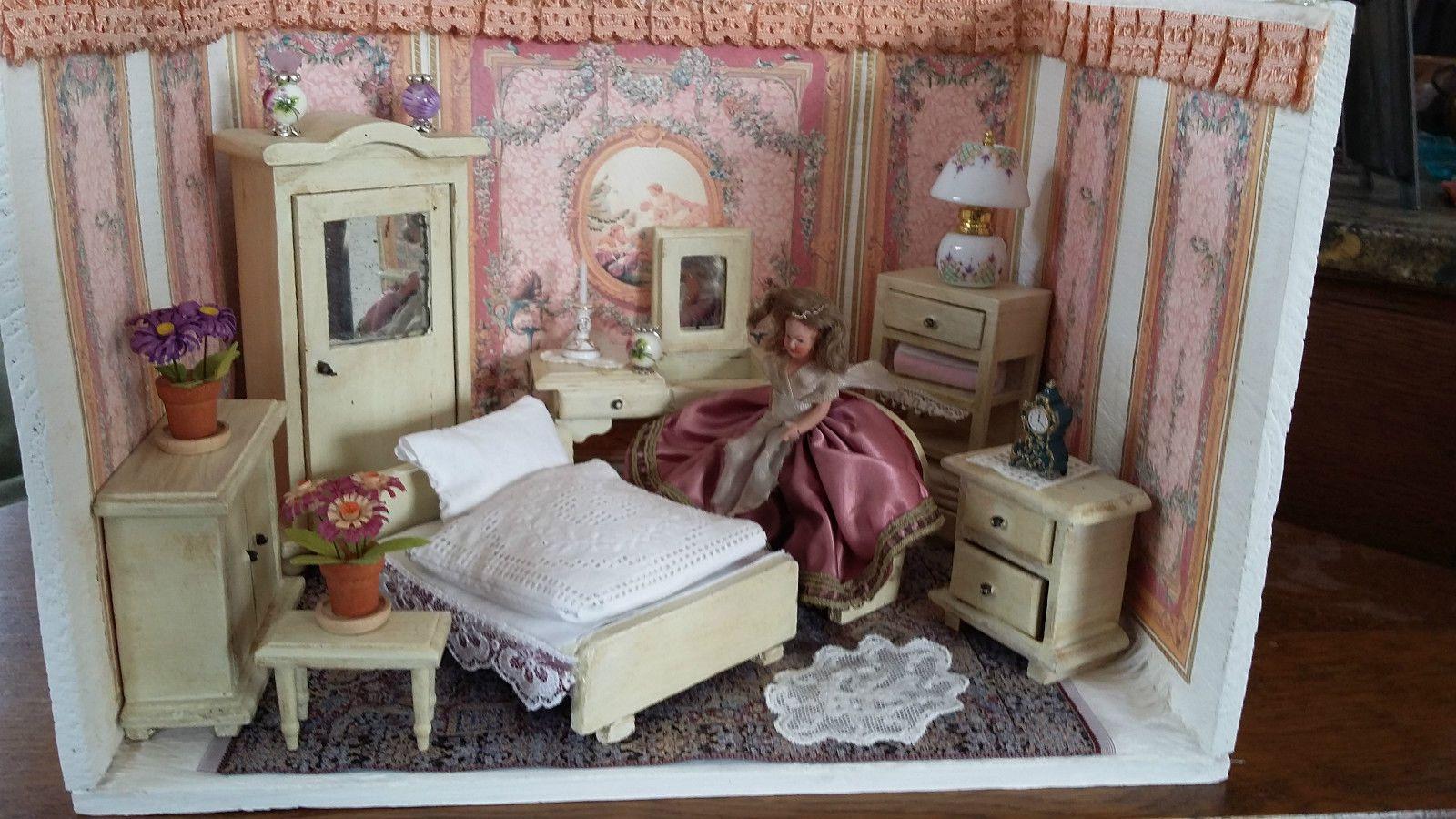 alte Puppenstube, antik, kleines Schlafzimmer | Puppenhaus ...