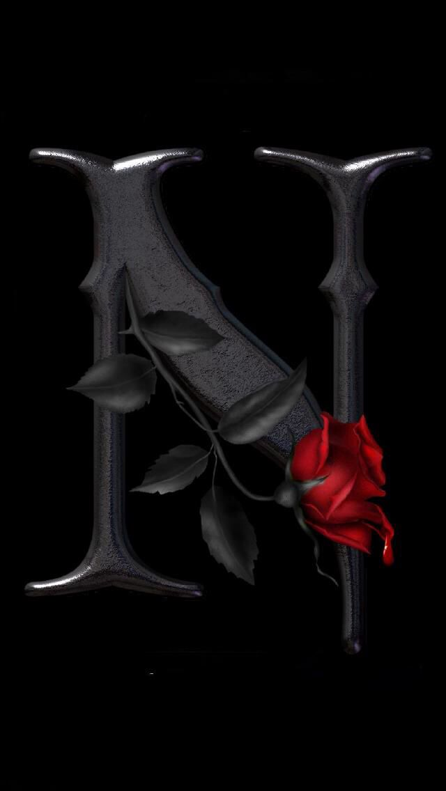 """Letter art with rose """"N"""" 