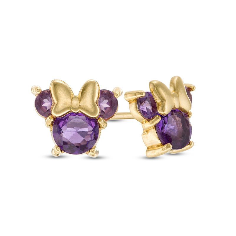 2c660944f Child's Disney Twinkle Minnie Mouse Amethyst Stud Earrings in 14K Gold