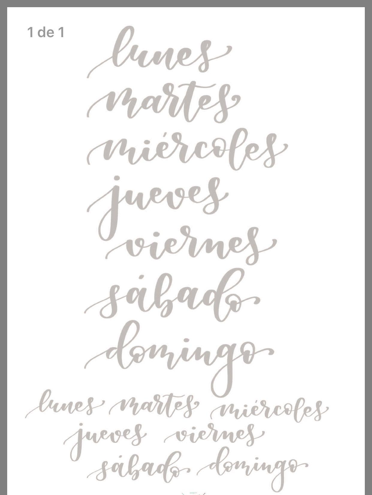 Dias De La Semana Plantillas De Letras Para Imprimir Tipos De