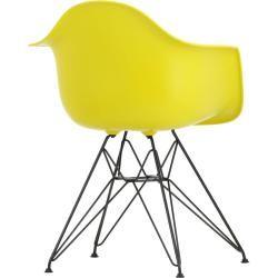 Eames Plastic Armchair Stuhl Dar mit Filzgleitern sunlight-schwarz VitraVitra