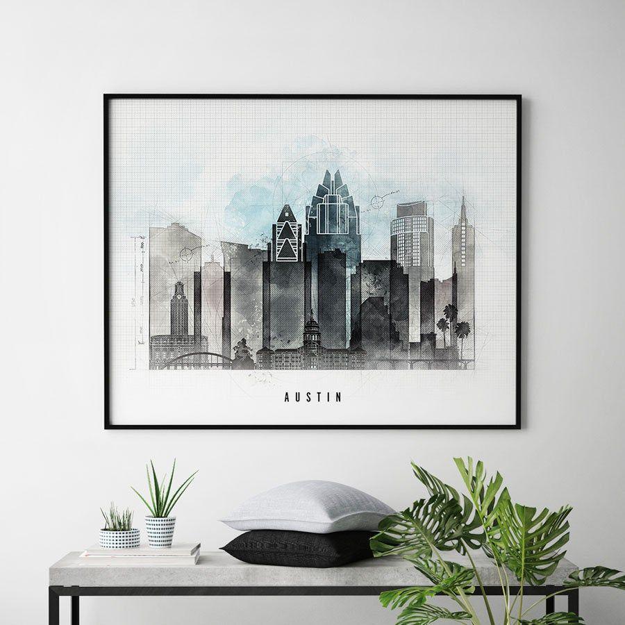 Austin skyline print, Austin Texas poster, contemporary