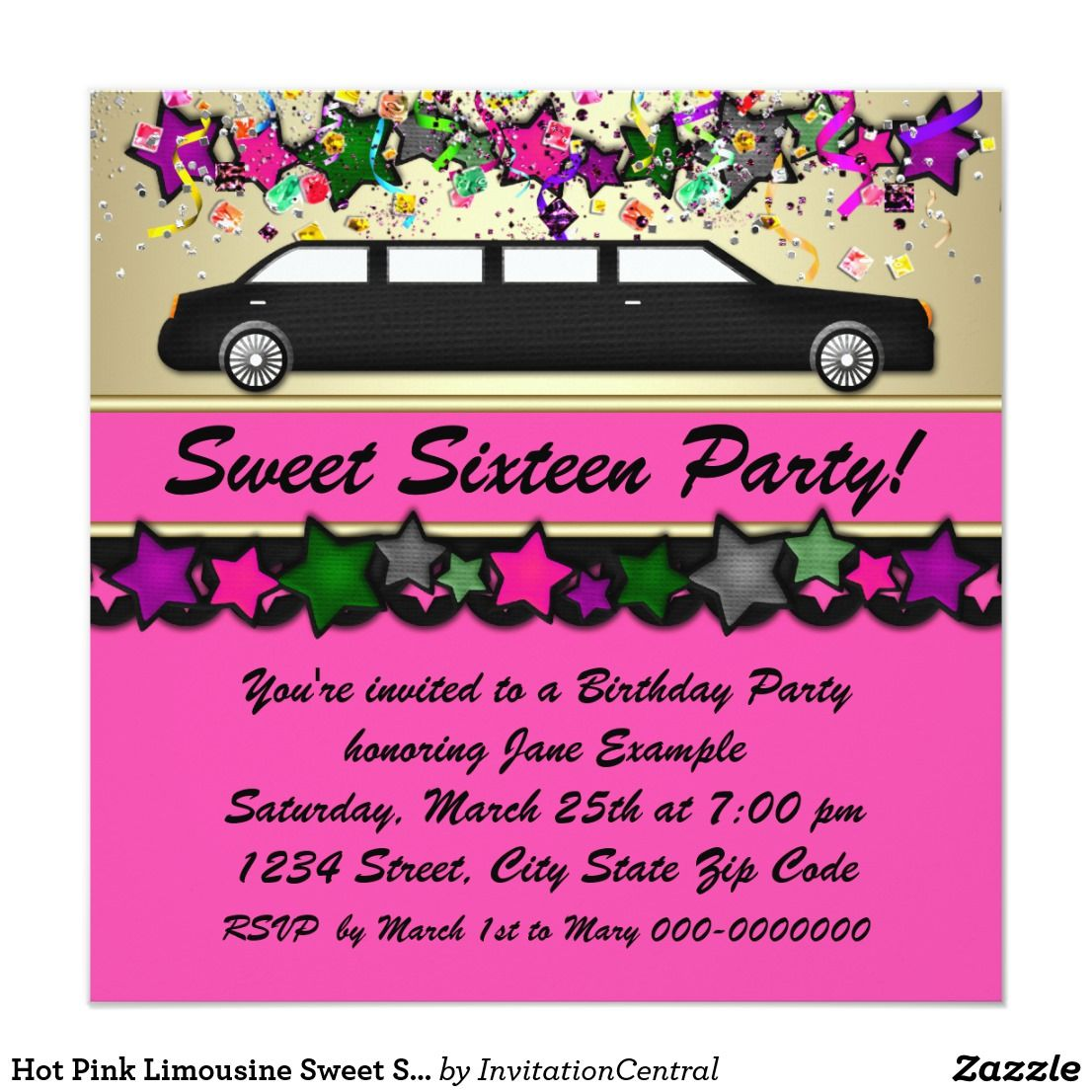 Hot pink limousine sweet sixteen party invitations pinterest this colorful fun hot pink confetti stars and limousine birthday party invitation this elegant and bright hot stopboris Image collections