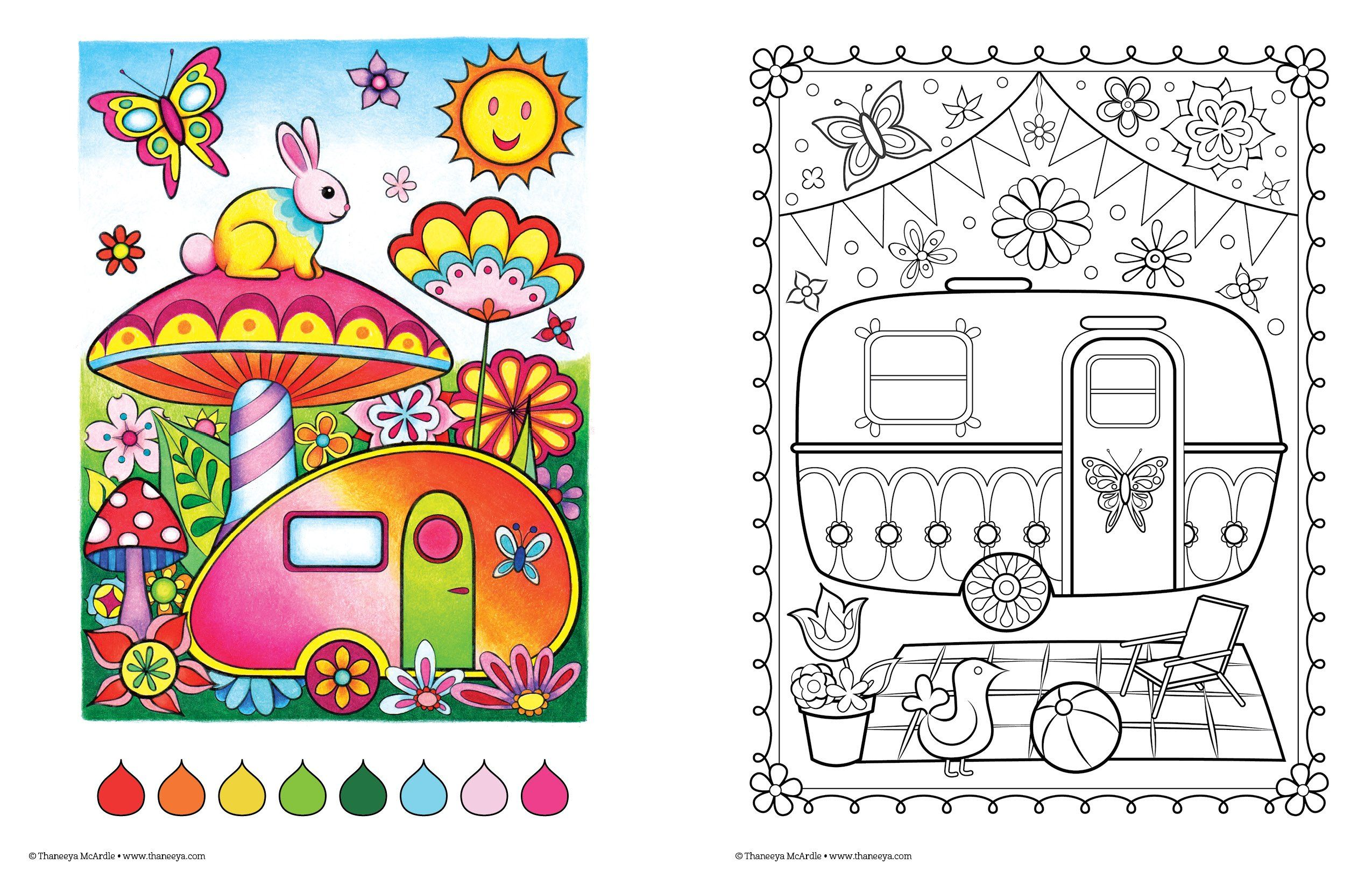 Happy Campers Coloring Book Design Originals Is Fun Thaneeya McArdle 9781574219654 Amazon Books