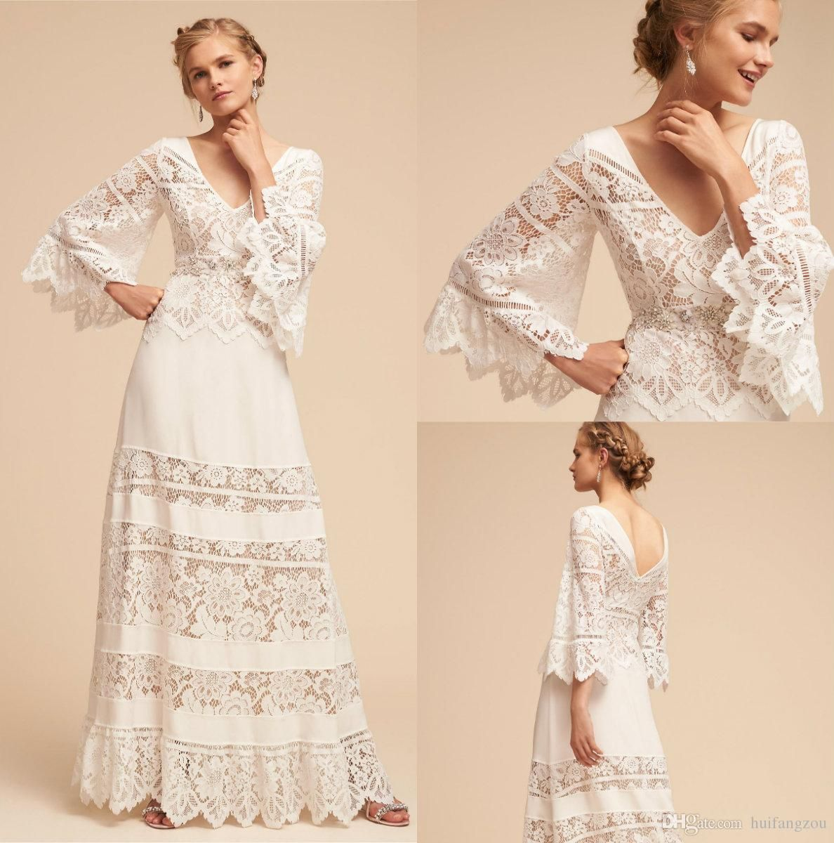 Discount 2018 Plus Size Bhldn Wedding Dresses Lace Bell
