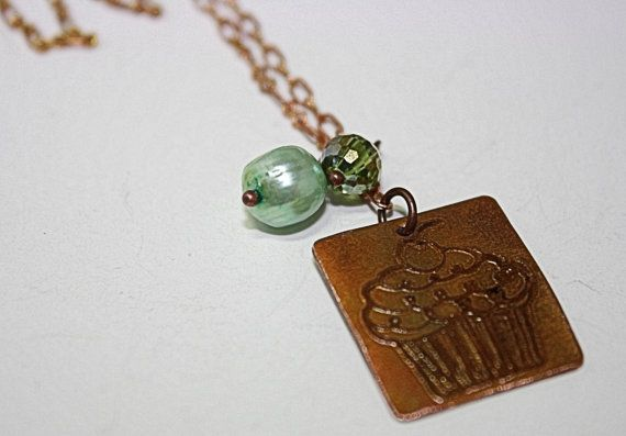#Cupcake Etched Metal Necklace with Pearl by #OnAWhimJewelry on Etsy, $23.99 #etchedmetal #copper #sweettooth #pearl #necklace #jewelry #style #giftsunder25 #accessories #shopetsy #shophandmade #green #copper #bridesmaidsgift