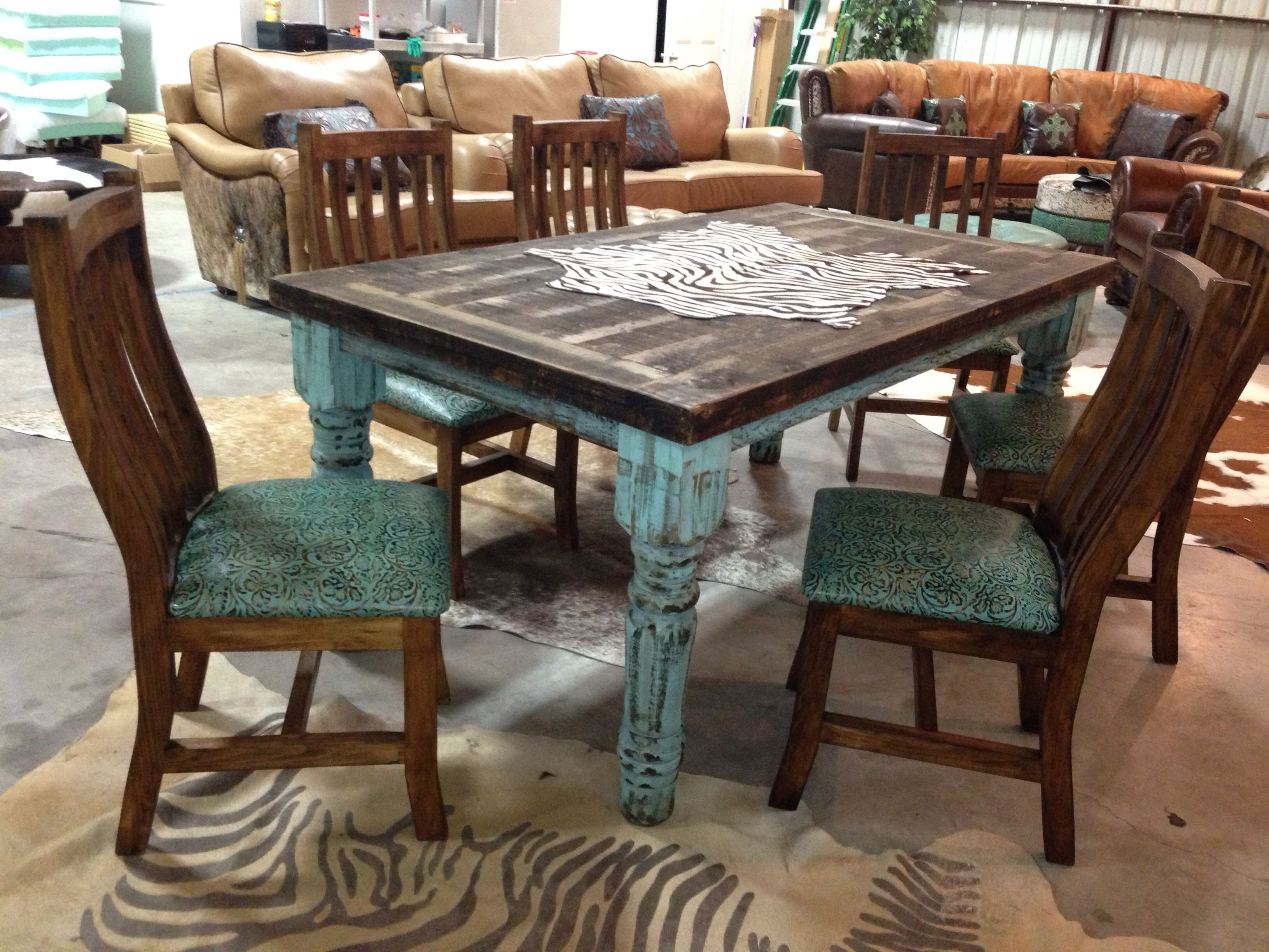 Barn table chairs by cowhide western furniture cowhide for Western dining room tables