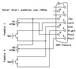 Commodore C64 and VIC-20 style paddles circuit schematic