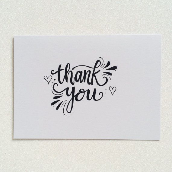 thank you greetings card modern calligraphy