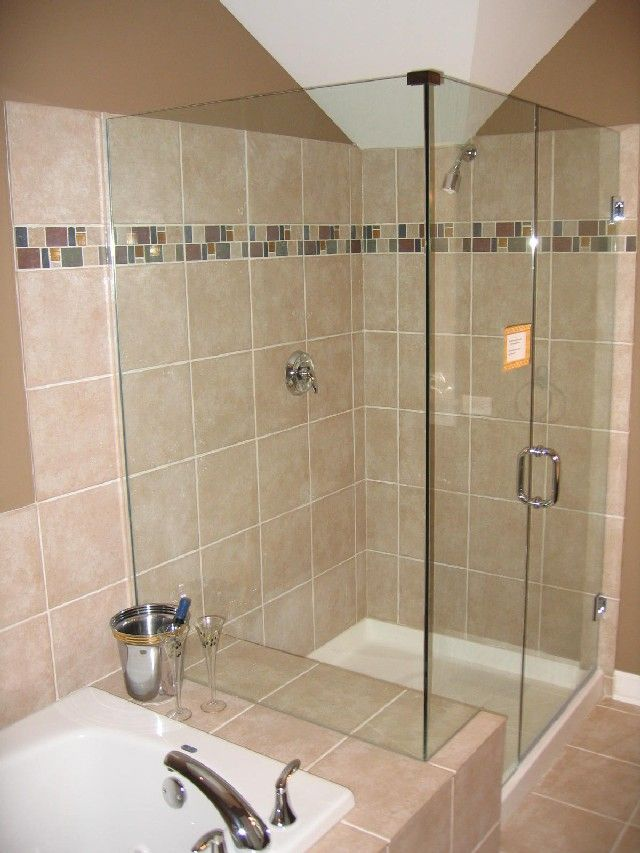 Tiny bathroom ideas brown ceramic tiles glass shower bath for Brown tile bathroom ideas