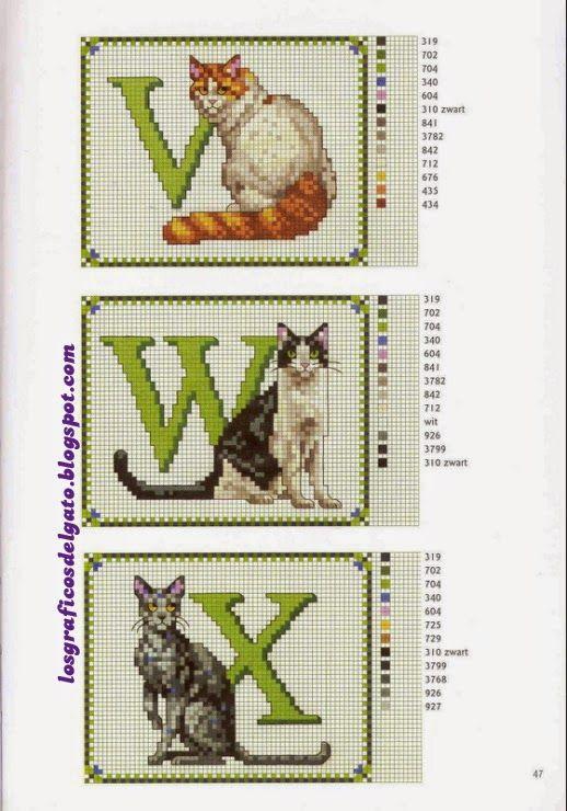 los gráficos del gato: ABECEDARIO GATOS | Alfabeto | Punto de cruz ...