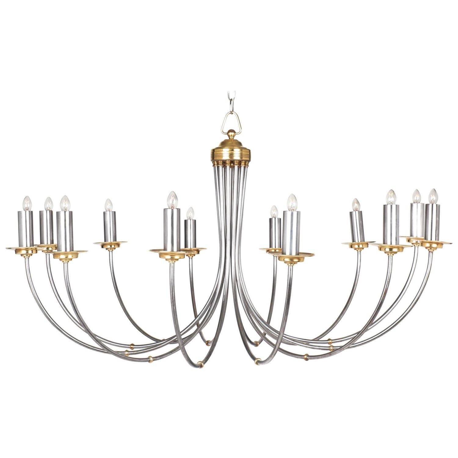 Elegant Modernist Chandelier With 12 Branches Clean Lineixed Metals Of Brushed Steal And Brass From France Circa 1900s