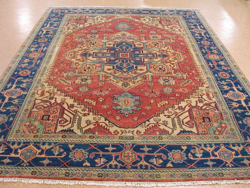 10 X 14 Heriz Serapi Hand Knotted Wool Terracotta Blue New Oriental Rug Carpet Ebay