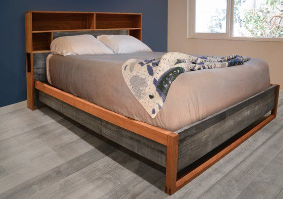 Platform Storage Bed Cherry And Reclaimed Wood Headboard Storage