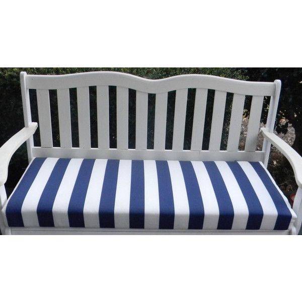 Indoor Outdoor Swing Bench Foam Cushion With Ties Navy Blue And White Stripe Choose Size Outdoor Swing Custom Bench Cushion Bench Cushions