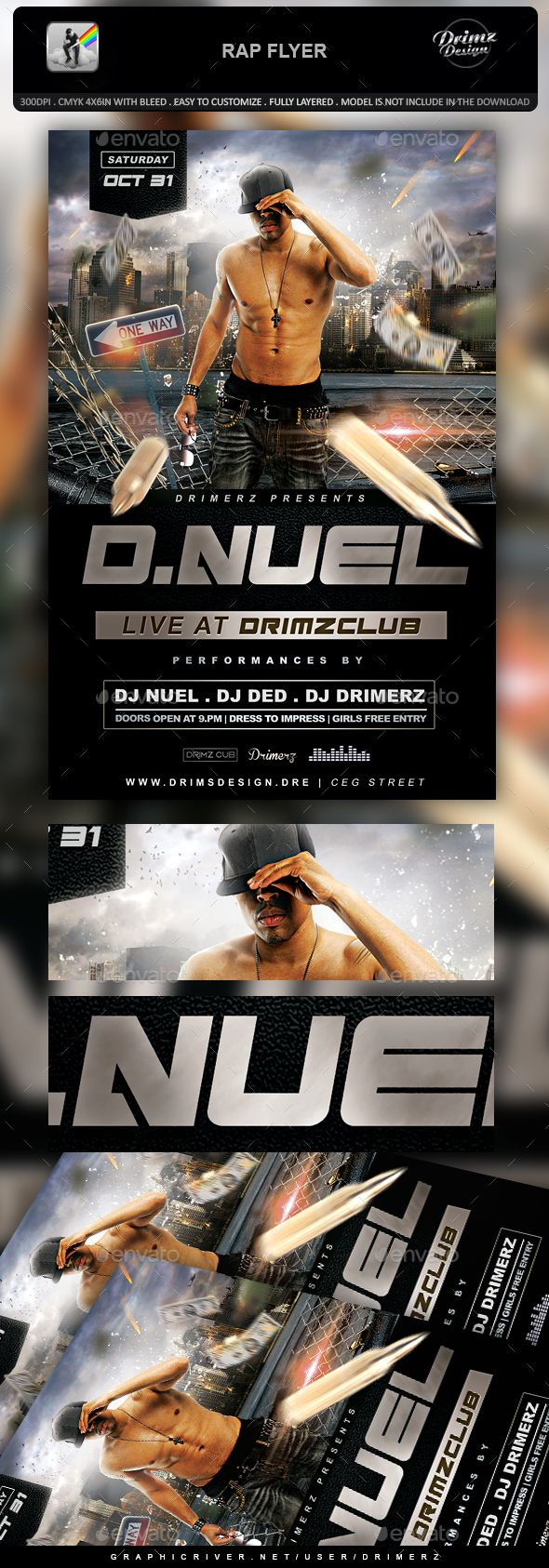rap flyer flyer template template and font logo