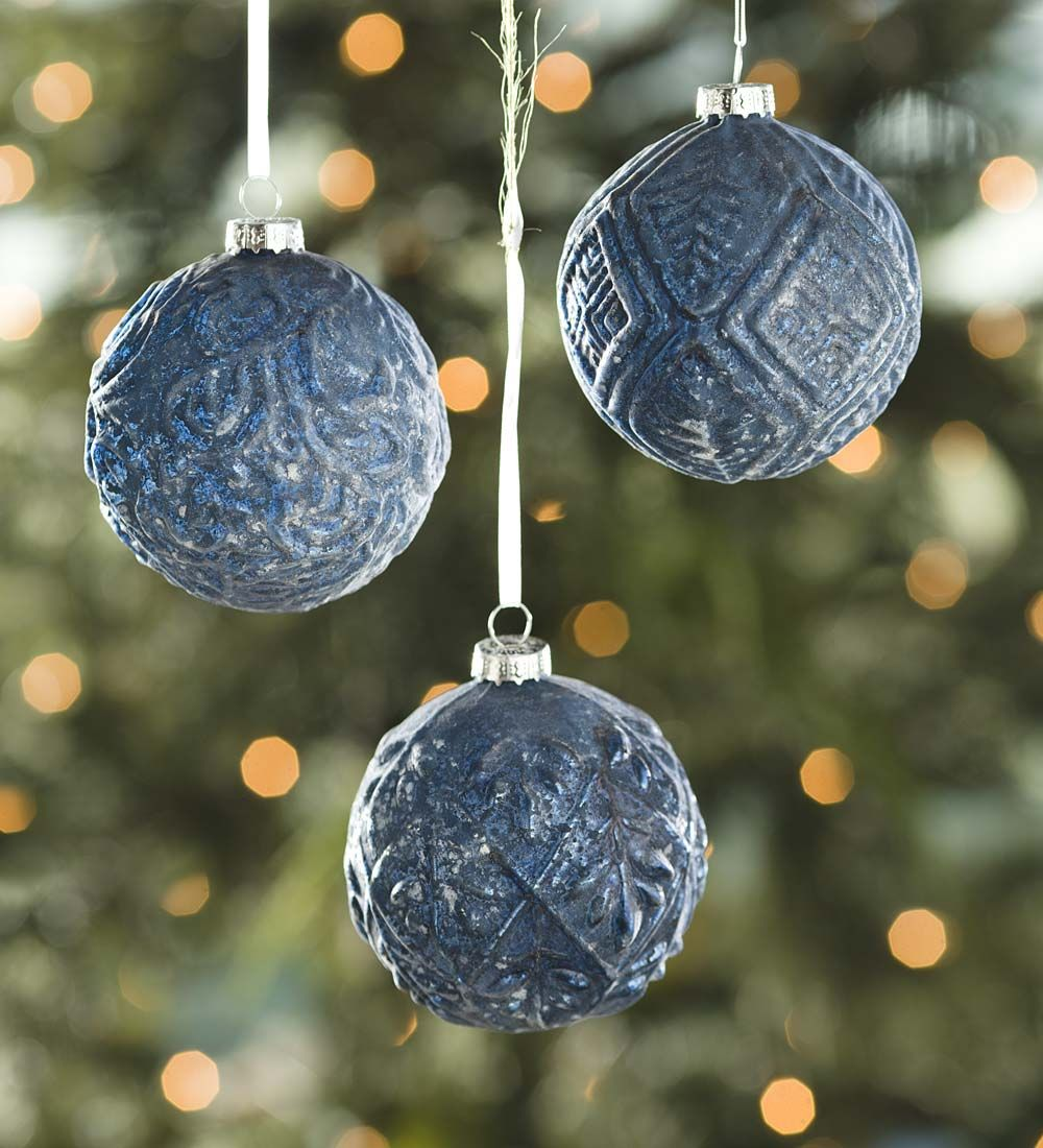 Textured Frost Midnight Blue Glass Ornaments Set Of 3 Decorating The Tree Unique Christmas Ornaments Blue Christmas Decor Glass Ornaments