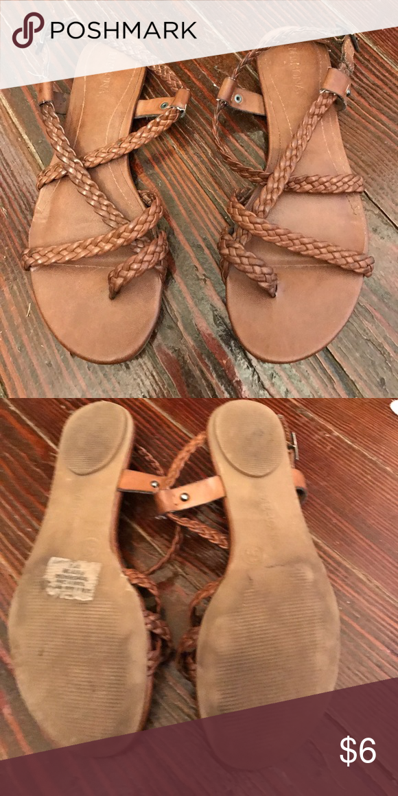 Target Chocolate Sandals Rubber target sandals.  Cute braided straps Shoes Sandals